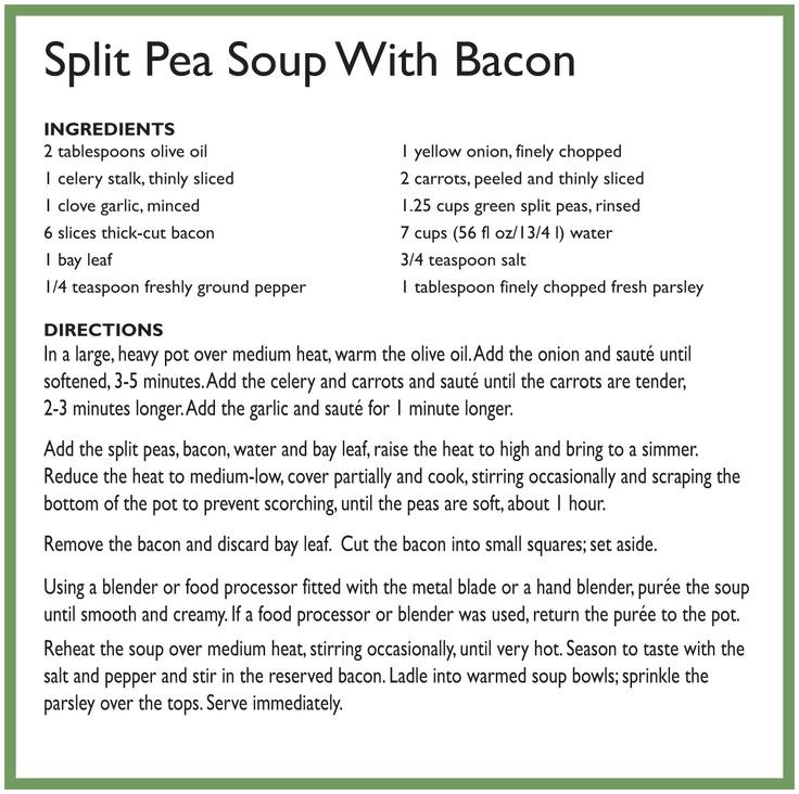 Split peas, Pea soup and Bacon on Pinterest