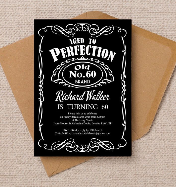 Whiskey Label Themed 60th Birthday Party Invitation