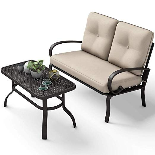 2 Pcs Patio Outdoor Loveseat Coffee Table Set Furniture Bench
