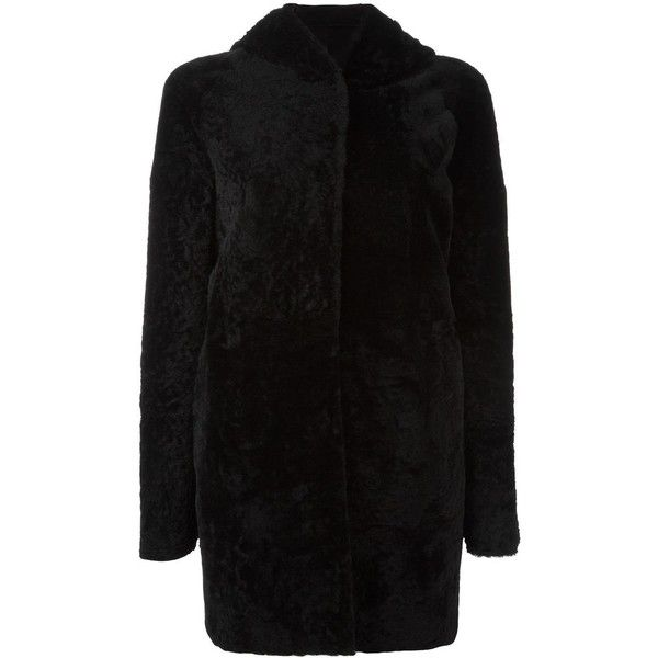Drome hooded long sleeved coat (£1,710) ❤ liked on Polyvore featuring outerwear, coats, black, fur hooded coat, hooded coat, fur hood coat, drome coat and drome