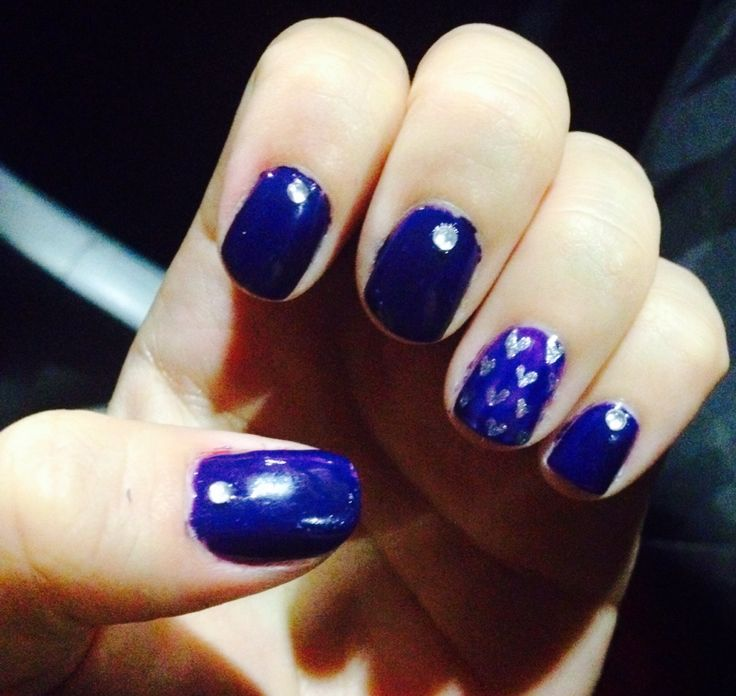 Blue heart cristal nails! Home made