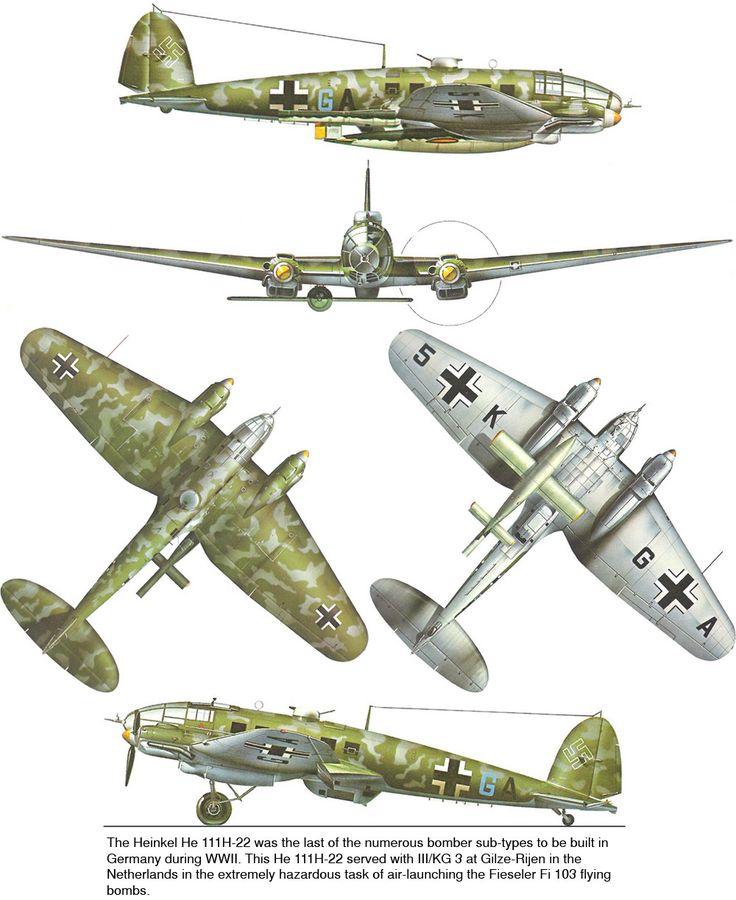 1935-45 Heinkel HE-111, Luftwaffe, Spain, Medium bomber/transport. Engine: 2 x BMW VI liquid-cooled inverted V-12 (660 HP) ea. Armament: 7 x 7.92 mm MG-15 or MG-81, 1 X 20mm MG FF cannon, 1 x 13mm MG-131 machine gun, 2,000 kg (4,400 lb) bombs. Max Speed: 440 km/h (273 mph)
