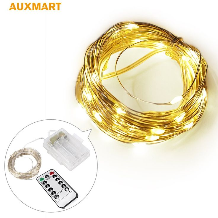 AUXMART LED String Lights Battery powered with Remote Control 100 LED 32.8 ft Christmas Light Fairy Lights Indoor Outdoor Decoration for Christmas Wedding Party Holiday Birthday (Color - Gold)