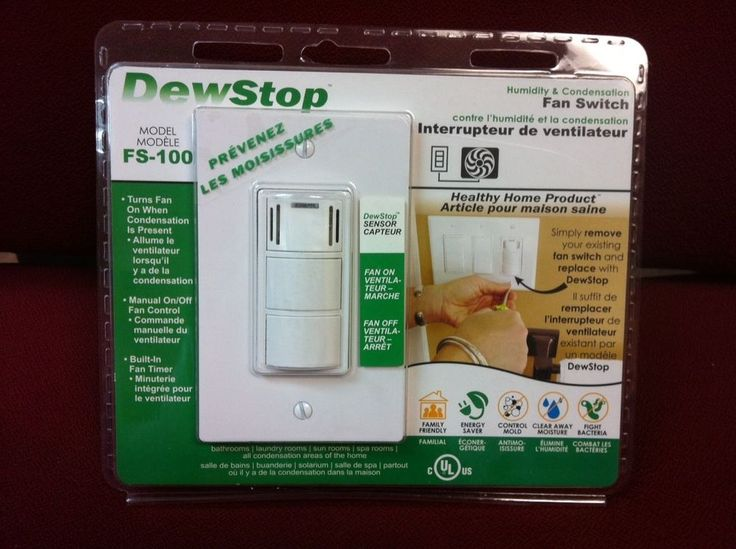 DewStop FS-100-W2 HUMIDITY & CONDENSATION EXHAUST FAN WALL SWITCH built-in timer