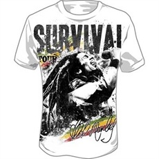 Bob Marley Survival Jumbo Men's T Shirt (White)    This white Bob Marley Men's Tee features a jumbo print of Bob Marley in concert singing with long flowing dreads. Printed on the top of the T Shirt is Survival Tour in a distressed black style and the signature of Bob Marley is on the bottom with rasta stripes in the background.