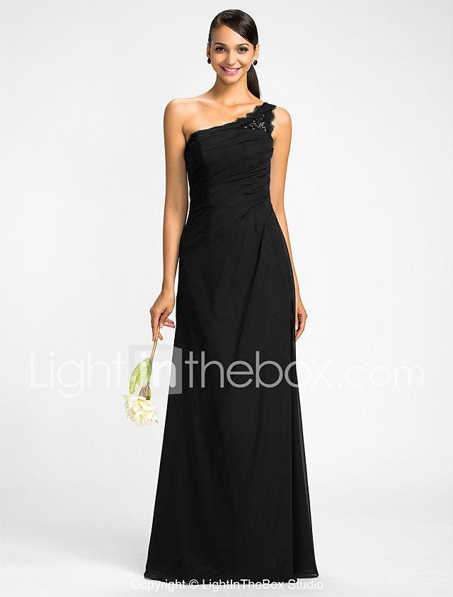 Lanting Bride® Hasta el Suelo Raso Mini Yo Vestido de Dama de Honor - Funda / Columna Sobre un Hombro Talla Grande / Pequeña conApliques 2017 - $79.99