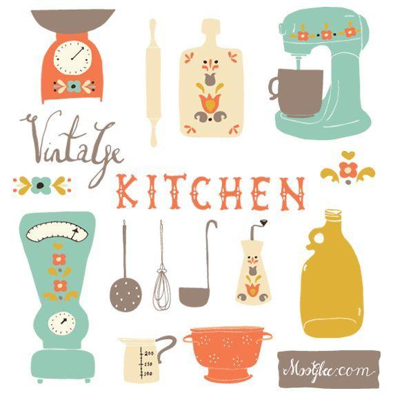 Vintage Kitchen Clip Art Set    Bakery   Pinterest   Vintage Kitchen