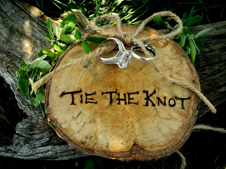 Ring Bearer Rustic Wood Alternative Pillow for Outdoor Weddings, Green Brides , Nature Lovers, Photo Props. $16.95, via Etsy.