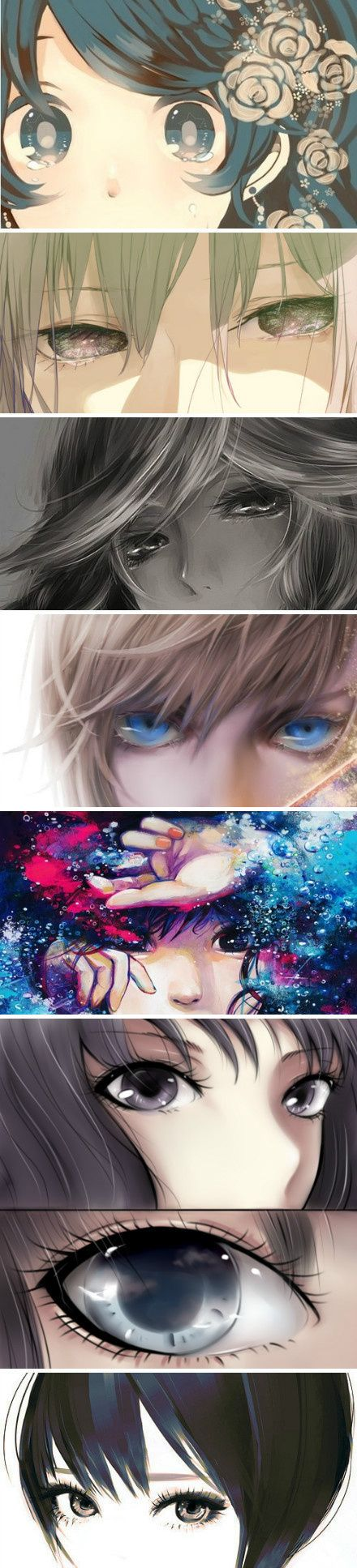 ✮ ANIME ART ✮ anime. . .eyes. . .different art styles. . .pretty. . .kawaii