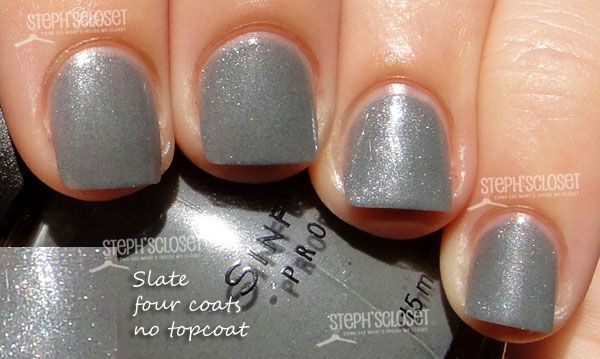 Sinful Nailpolish in Slate - bought this last week and love the color. It doesn't look quite this glittery on my nails.