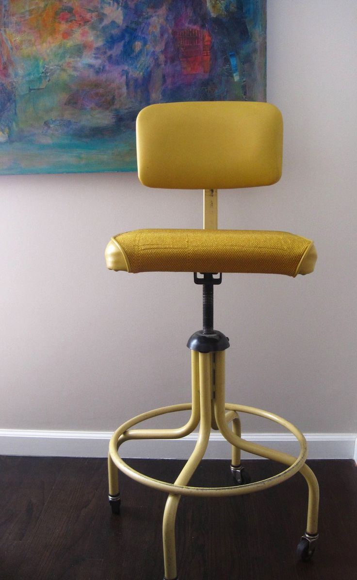 Wonderful Vintage Retro Upholstered Drafting Chair