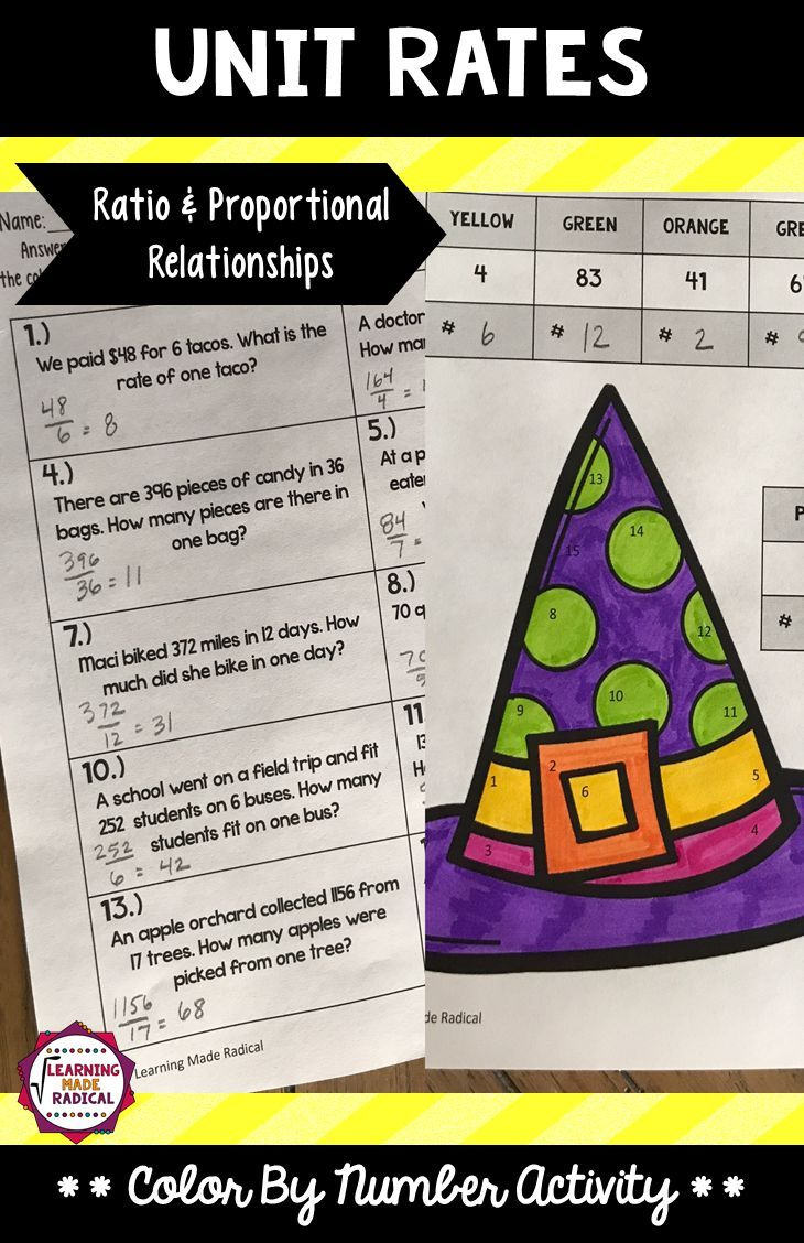 A great introduction activity to discuss unit rates! Add coloring and you have a great holiday activity for Halloween! Best part of this resource, it is print ready! Print, hand out and go :)