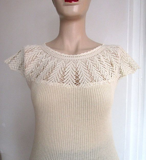 Hey, I found this really awesome Etsy listing at https://www.etsy.com/listing/215409424/cream-lace-top-for-women-cotton-knit-top