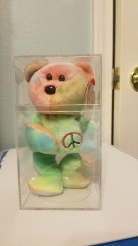 TY ORIGINAL BEANIE BABY PEACE TYE-DYE D.O.B. FEB 1ST 1996 RARE PLUS 2 OTHER RARE