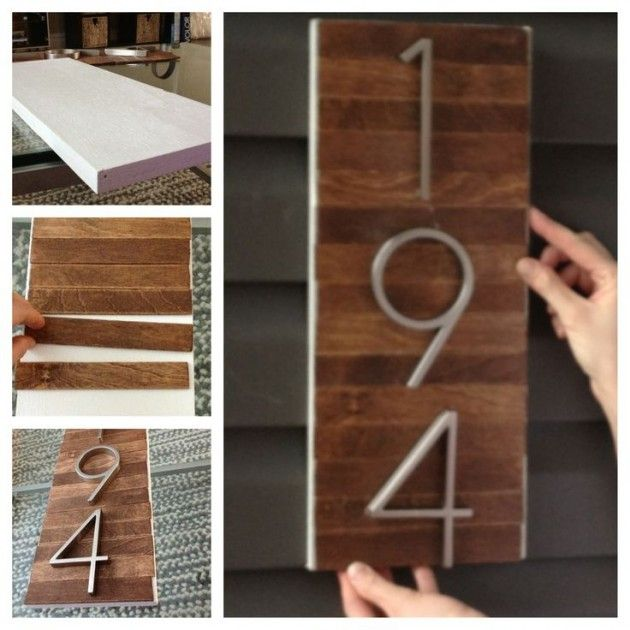 25 Creative DIY House Numbers Ideas - I'd love to hang all of our house numbers in a row like this.