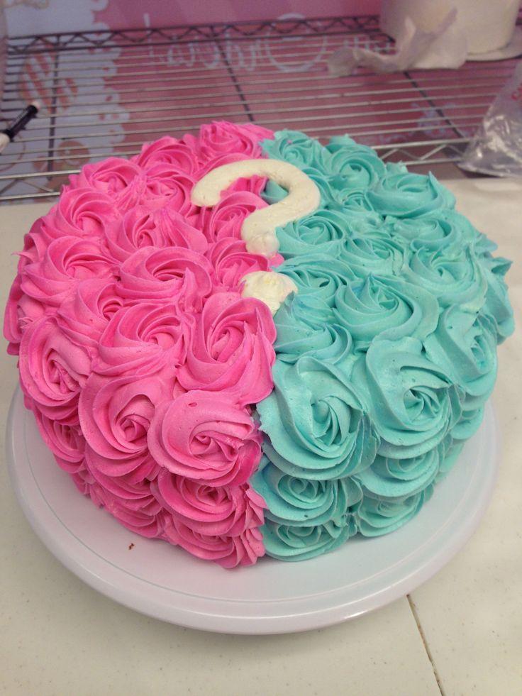 Buttercream Rosette Gender Reveal Cake
