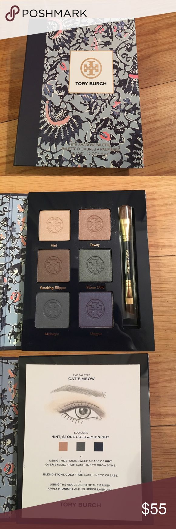 """Tory Butch """"The Cat's Meow"""" Eyeshadow Palette Brand new Tory Burch eyeshadow palette. The palette is called """"The Cat's Meow."""" Comes with the plastic sleeve, plastic protector over the eyeshadow, looks card, and mini Tory Burch dual ended eyeshadow brush. Never used. Tory Burch Makeup Eyeshadow"""