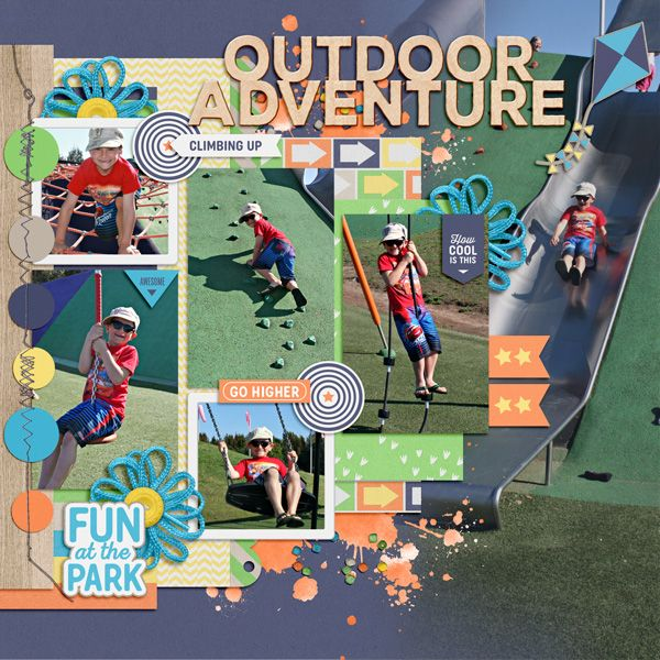 Outdoor Adventure. Credits: Park Play Kit from Peppermint Creative #play #kids #outside #digiscrap #digitalscrapbooklayout #digitalscrapbook #layout by @kirstiegai