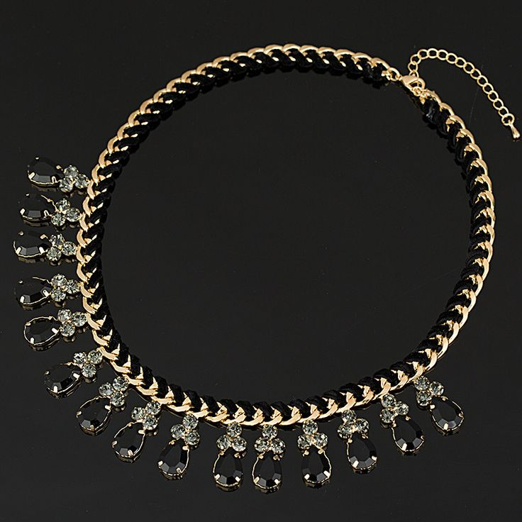 2016 Fashion Thick Gold Plated Chain Weave black Rhinestones Crystal Beads Choker Luxury Chunky Necklace Statement Jewelry #N009