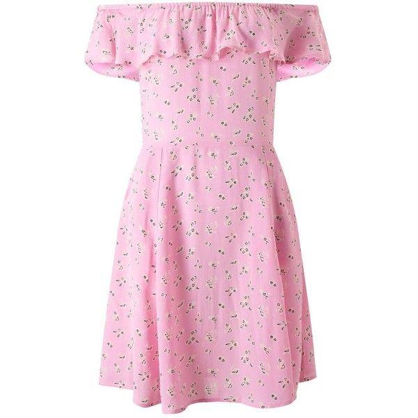 Miss Selfridge Pink Floral Bardot Skater Dress ($44) ❤ liked on Polyvore featuring dresses, pink, floral skater dress, flower print dress, floral pattern dress, summer dresses and pink floral dress