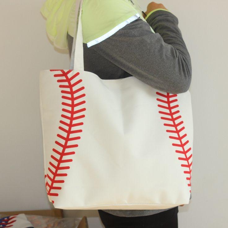 Neue ankunft kleine baseballl radfahren Dame Tasche Schulter baseball tasche Handtasche der Frauen Niedliche Canva Einkaufstasche basketball tasche