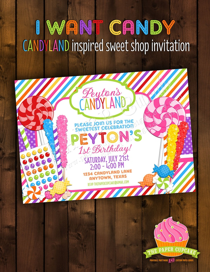 Printable Invitation Design - I Want Candy - Candyland Inspired Sweet Shop Collection - DIY Printables by The Paper Cupcake