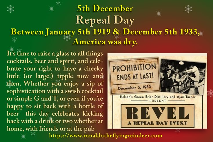 #today 5th Dec is #RepealDay #InternationalNinjaDay #BathtubPartyDay #NationalSacherTorteDay During these years, the consumption of alcohol was banned. This was supposed to end drunkenness and put a stop to crime – but if anything, it just made problems with lawbreaking even worse. #alcohol  #alcoholfree  #repealdayparty #cocktails #beer #wine  #whiskey