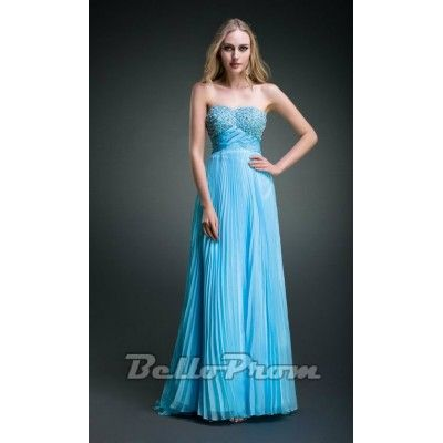 Graceful Blue Sweetheart Chiffon Evening Dress A4122  Price: $149.00  Buy now enjoy -10% Discount at BelloProm.com.