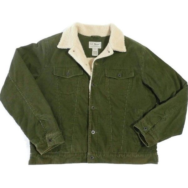 L.l. Bean Men's Corduroy Jacket Barn Style Large Reg Olive Green... ❤ liked on Polyvore featuring men's fashion, men's clothing, men's outerwear, men's jackets, mens green military jacket, mens olive green jacket, mens long jacket, mens jackets and mens short sleeve jacket