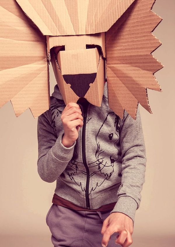 carnevale-costume-maschera-leone fatta con cartone