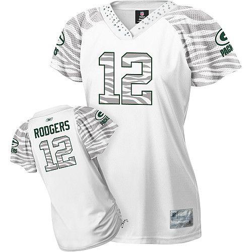 Reebok Green Bay Packers Aaron Rodgers Women's Zebra Field Flirt Fashion Jersey