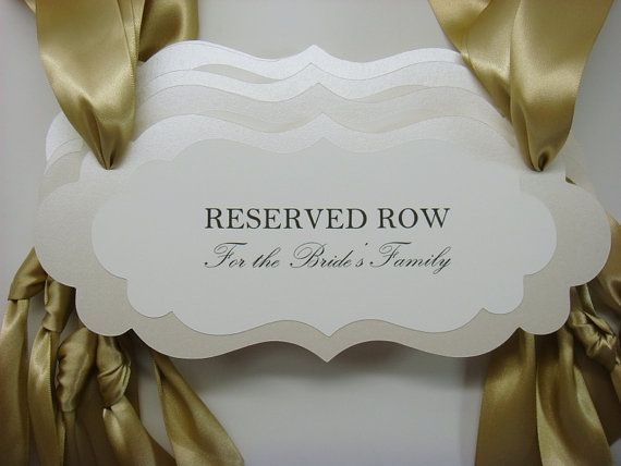Reserved Wedding Signage Ceremony Seating Pew or Chair by wedology