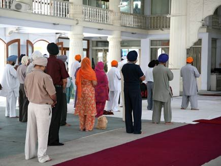 Gurdwara...The Gurdwara is the Sikh place of worship, literally meaning 'door to the Guru'. They are open to everyone,although Sikhs ask that shoes are removed and heads are covered before entry. The Gurdwara also houses the Langar, which is a free community kitchen.
