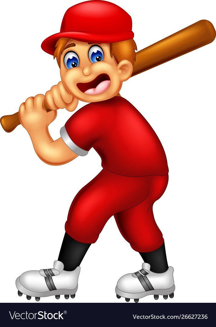 Funny Baseball Player Cartoon Vector Image On