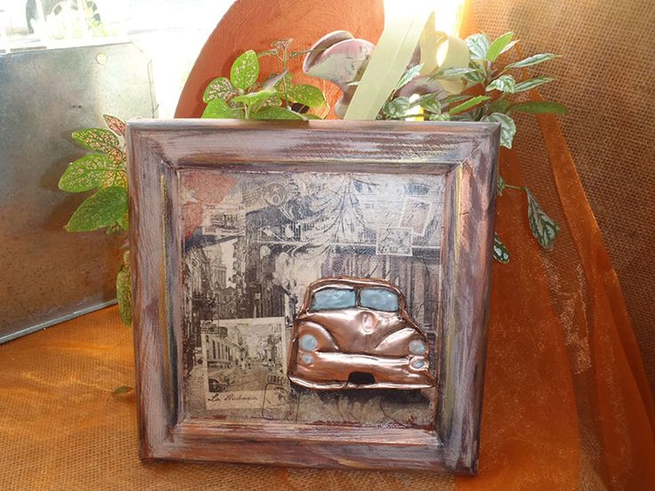 Decoupage and garving metal-mixed media www.artvoyage.gr