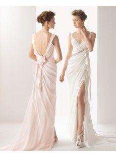 Court Train Sheath Column Wedding Dress
