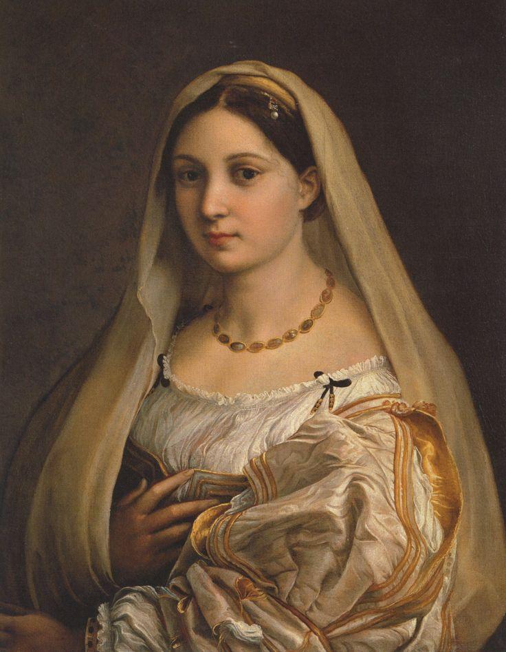 """Raphael La donna velata (c. 1516) ( """"La mujer con el velo""""), es uno de los retratos más famosos por el italiano Renaissancepainter Rafael. [Cita requerida] El tema de la pintura aparece en otro retrato, La Fornarina, y es tradicionalmente ..."""