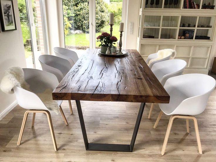 Esstisch Altholz Tisch Eichentisch Eichenholz Massivholztisch Stammholztisch Baumtisch Holztisch Liveedgetable Holzwerk