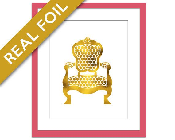 Chair Print - Gold Foil Print - Dining Room Art - Ornate Armchair Silhouette - Dining Room Decor - Furniture Art - Interior Design Wall Art