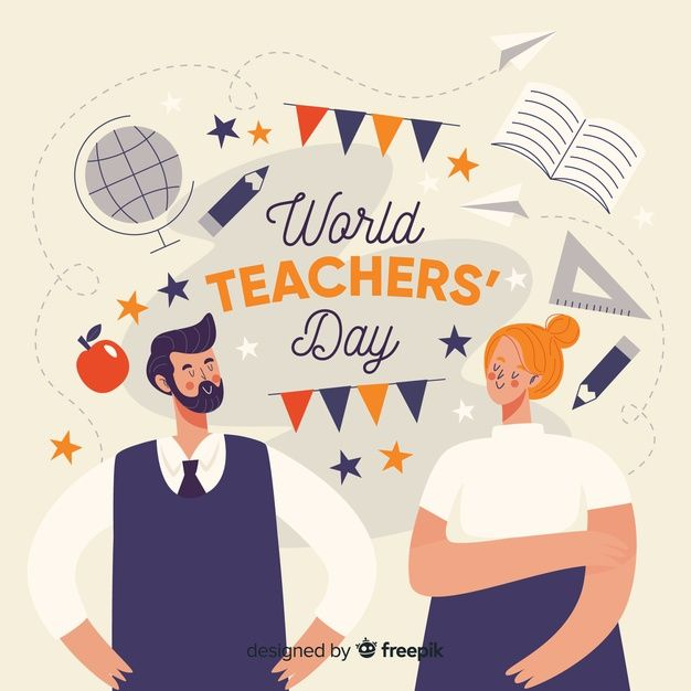 Lovely Teachers Day Composition With Flat Design Teachers Day Teachers Day Poster Vector Free