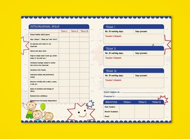 Prenursery Report Card On Behance Report Card Ideas School Throughout Kindergarten Report Car Report Card Template School Report Card Kindergarten Report Cards