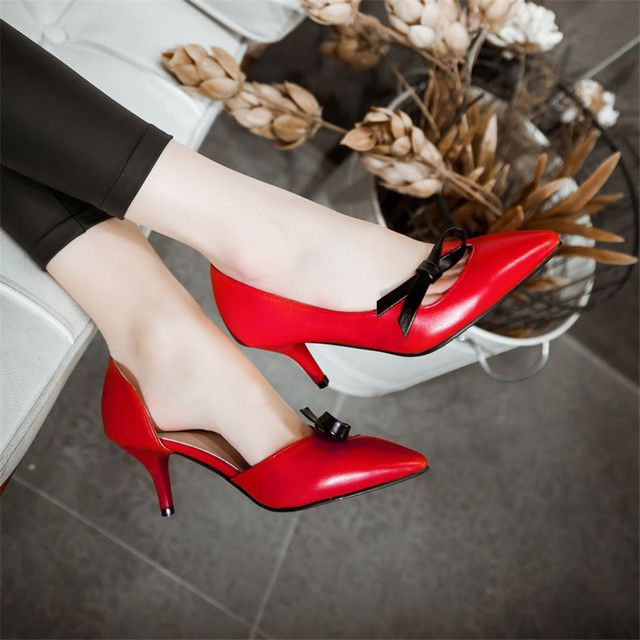 Thin High Heels Ladies High Heel Shoes Women Stiletto Woman Party Wedding Shoes Kitten Heels scarpin Plus Size 34-40.41.42.43
