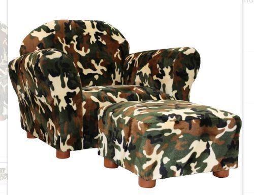 Kids Camouflage Chair And Ottoman Set Toddler Boys Bedroom Playroom  Furniture