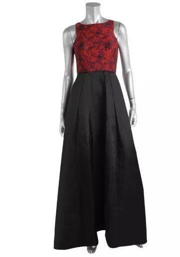 AIDAN MATTOX Black & Red Jacquard Organza Pleaded Evening Gown Size 6 $285 NWT