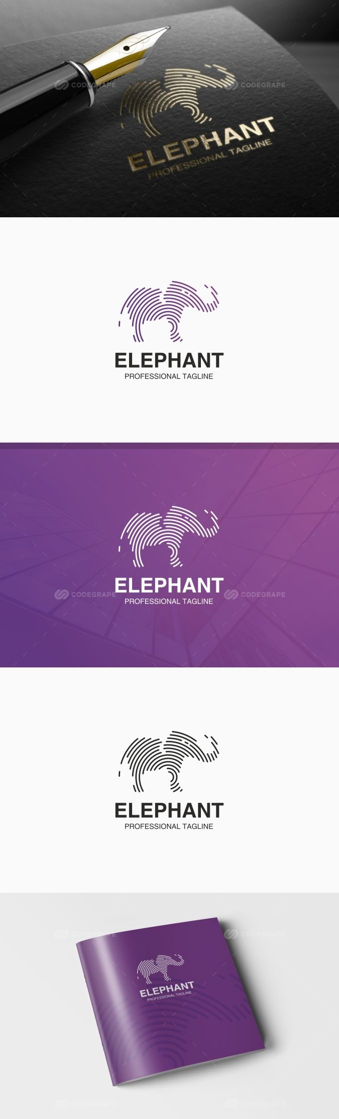 Elephant Logo on @codegrape. More Info: https://www.codegrape.com/item/elephant-logo/19240