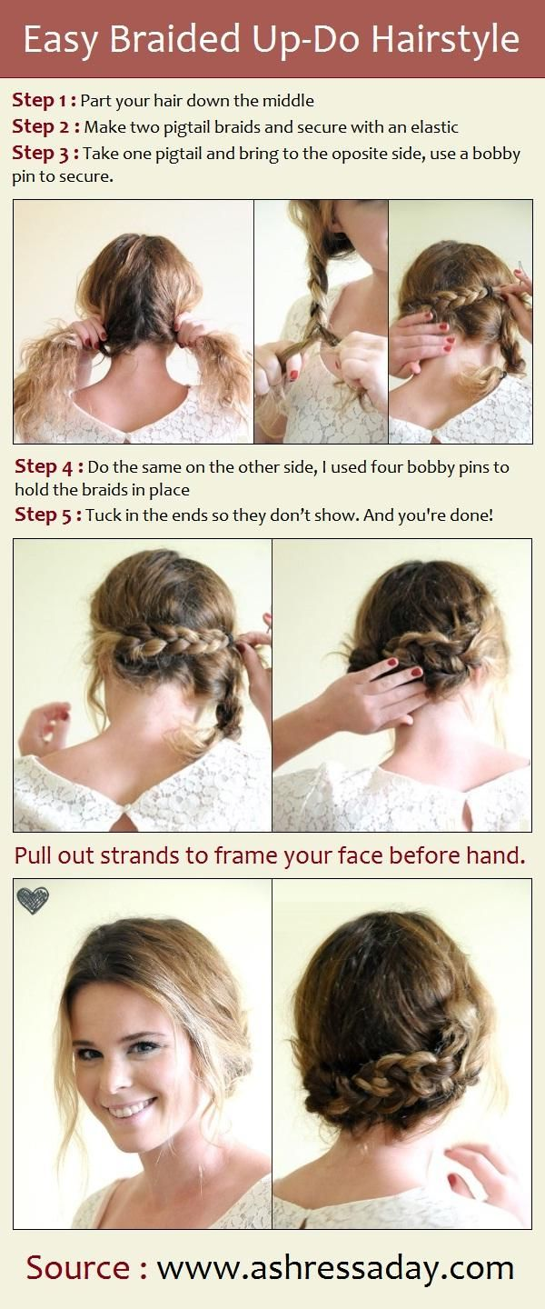 Easy Braided Up-Do Hairstyle This is really cute but I doubt it will turn out as cute as it looks in the pics...guess its worth a try