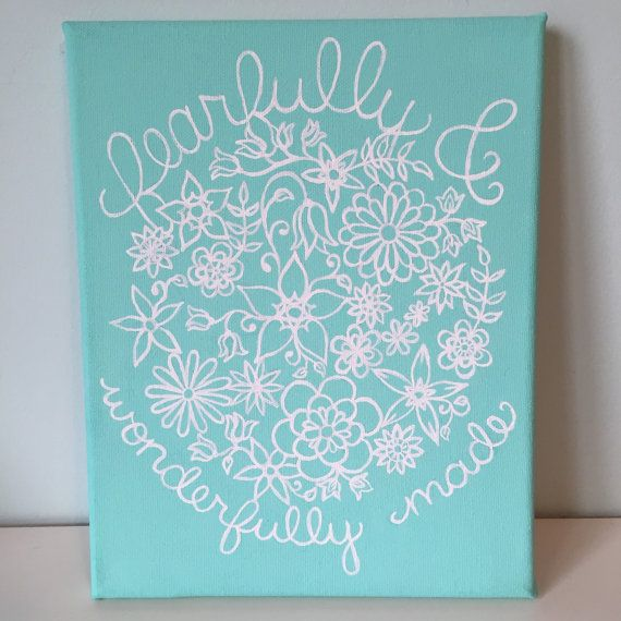 Fearfully and Wonderfully Made Quote Canvas Mint Floral ...