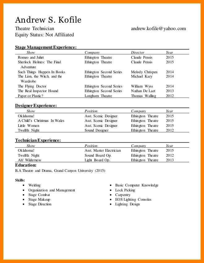 Technical Theatre Resumes Technical Theatre Resume The Rewrite 9 Musical Theatre Resume Resume Template Acting Resume Template Resume Design Template