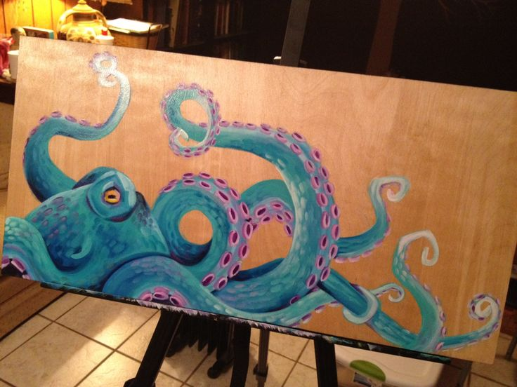 "Original Octopus Painting on 12"" x 24"" Wooden Canvas - Gloss Finish. $200.00, via Etsy."