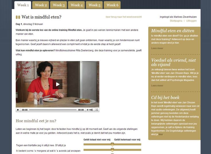 Online training Mindful eten. 6 weken lang praktische lessen per mail. Gemaakt door Rita Zeelenberg en Psychologie Magazine. Inclusief boek. Meer info en aanmelden via: http://www.mindful-eten.nl/online-training-mindful-eten/
